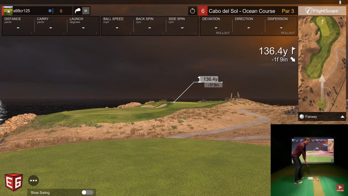 Playing Cabo Del Sol – How To Use E6 Connect Practice Mode – Flightscope Mevo+ Simulator
